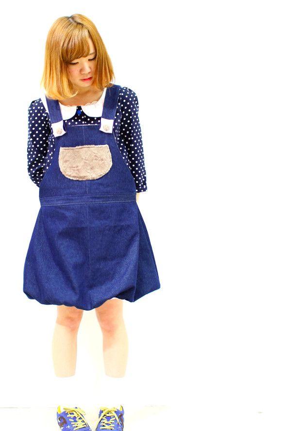 ☆バルーンサロペット♡デニムスカートサロペットパンツのスカート版です☆裾がバルーンになっていてフワフワ感が可愛らしい店頭でも人気のサロペットです♪ボタンで3c...|ハンドメイド、手作り、手仕事品の通販・販売・購入ならCreema。