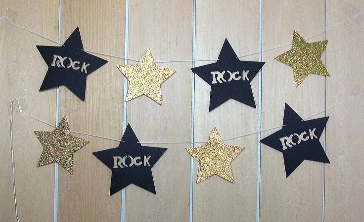Rock Star garland, Hot pink and black, Rock n roll birthday theme, Rock music decorations, Star, Rock star party decorations, Girl birthday by PrettyPartyPaperie on Etsy https://www.etsy.com/listing/517445491/rock-star-garland-hot-pink-and-black