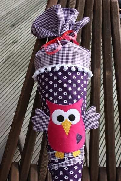 Schultüte / Zuckertüte aus Stoff mit Eule von ❤ larimari ❤ auf DaWanda.com
