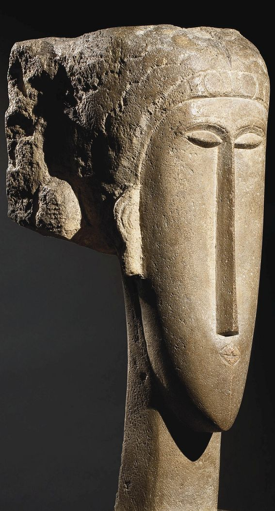 Tête limestone sculpture, 1910-12. Amedeo Modigliani Más                                                                                                                                                                                 More