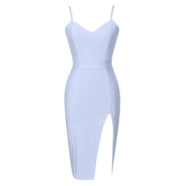 Ice Blue Erika High Slit Bustier Top Bandage Dress ($75) ❤ liked on Polyvore featuring dresses, slit dress, v neck bandage dress, sexy slit dress, bustier dress and sexy dresses