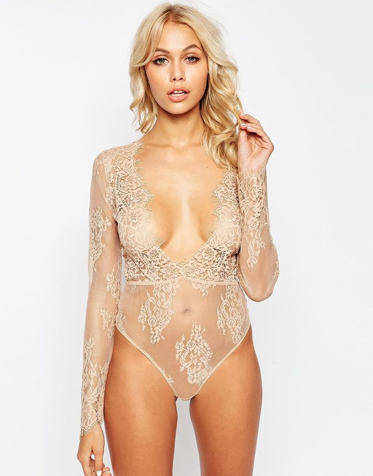 Image 1 of ASOS Lana Delicate Lace Plunge Body