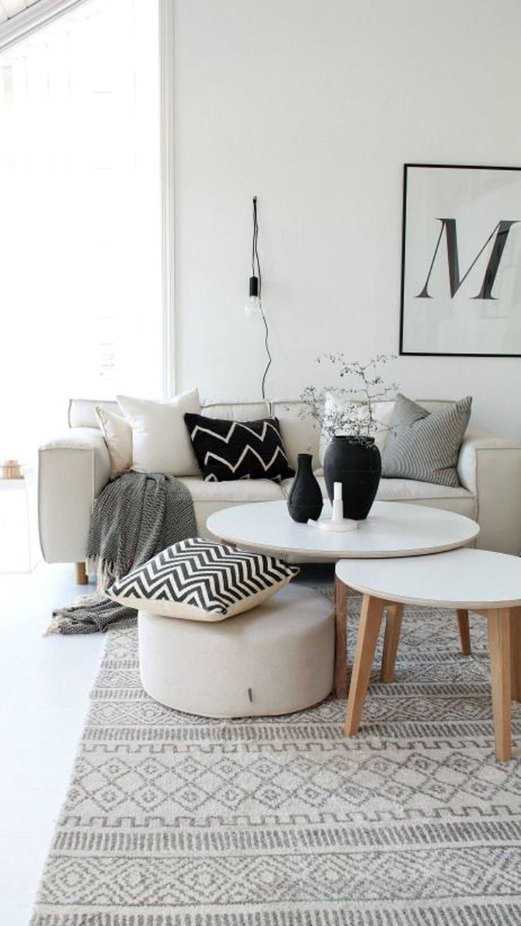 Creamy Tones And Beautiful Typography On The Wall. Black Living RoomsLiving  Room CarpetBeige ...
