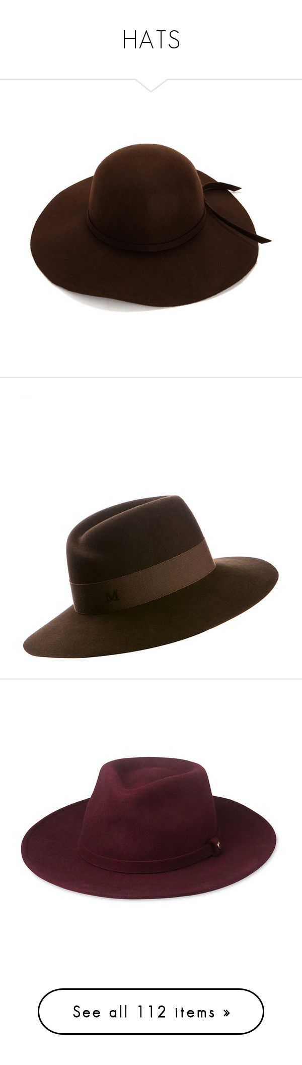 """""""HATS"""" by kiki-bi ❤ liked on Polyvore featuring accessories, hats, brown hat, brown floppy hat, floppy hat, brown felt hat, felt hat, waterproof hat, maison michel hats and maison michel"""