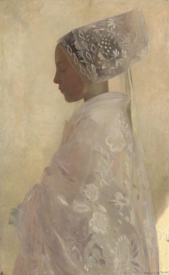 Gaston La Touche (1854-1913), Une jeune fille dans la contemplation // coiffe…