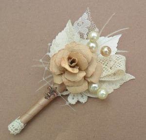 shabby+chic+burlap+crafts | Shabby Chic Boutonniere Collection - Fabric Flowers wrapped in Burlap