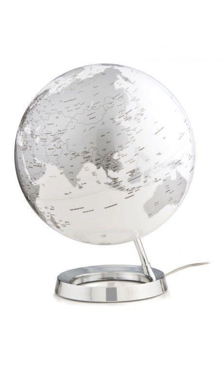 Globe terrestre lumineux design blanc gris sur socle chromé