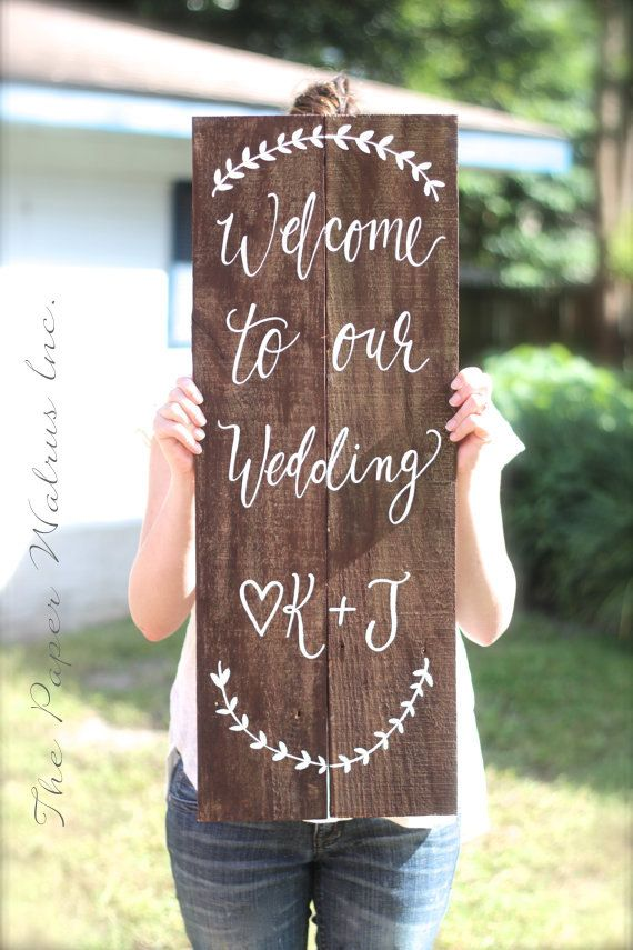 Welcome To Our Wedding Sign Personalized Rustic Wooden The Paper Walrus