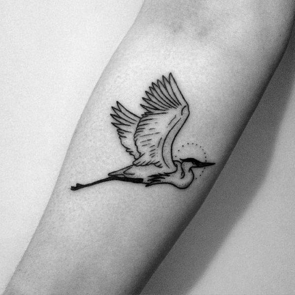 Unique Small Simple Inner Forearm Bird Mens Heron Tattoos Tattooideasforwomen Heron Tattoo Pelican Tattoo Crane Tattoo