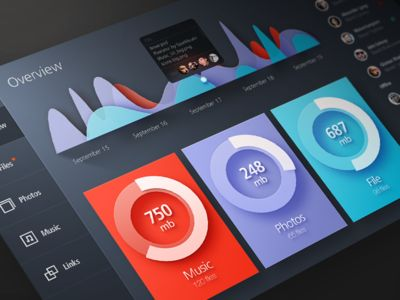 Cloud Storage design layout dashboard found on Dribbble.
