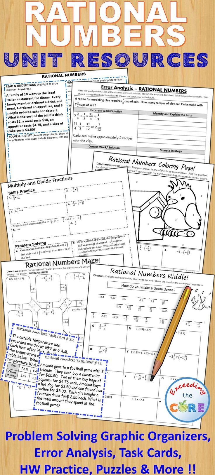 Rational Numbers Bundle Task Cards, Error Analysis, Problem Solving, Hw  Practice Negative Fractionsrational