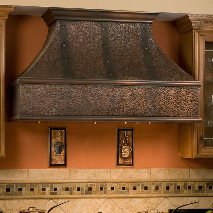 """48"""" Tuscan Series Copper Wall-Mount Range Hood with Riveted Bands"""