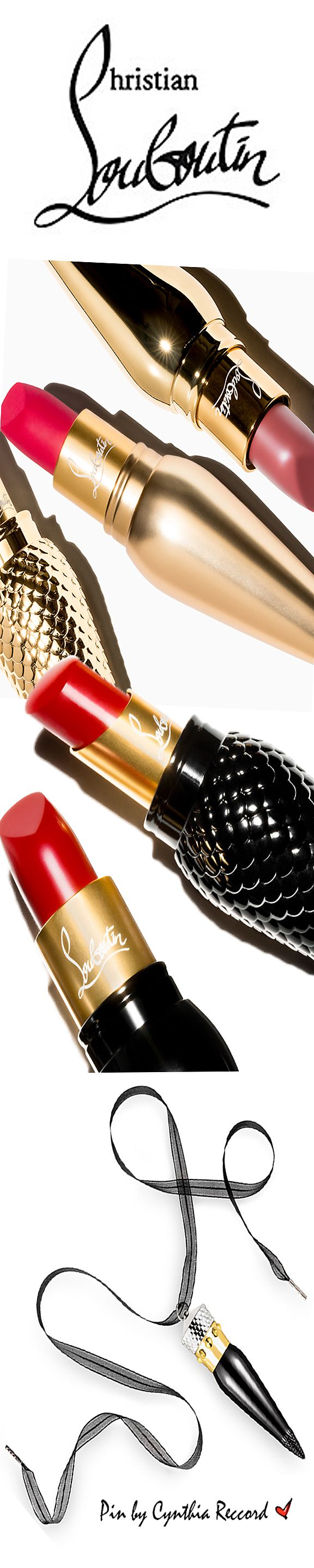 The lipsticks, hitting stores Sept 2015, will be available in 3 finishes ~ satin, matte and sheer, colors inspired by iconic Louboutin shoes and handbags. The line consists of 38 shades, each retailing for $90. Mr. Louboutin thinks of everything, he even designed the packaging to double as a necklace charm | cynthia reccord