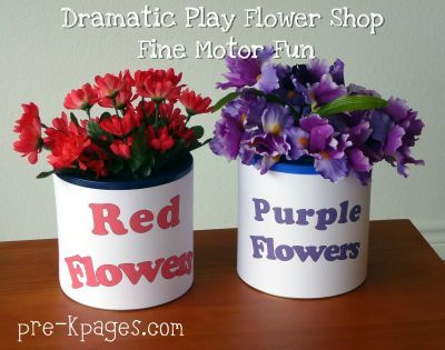 dramatic play flower shop fine motor fun. Use a coffee can w lid. Poke holes in the lid and stick flowers in the holes
