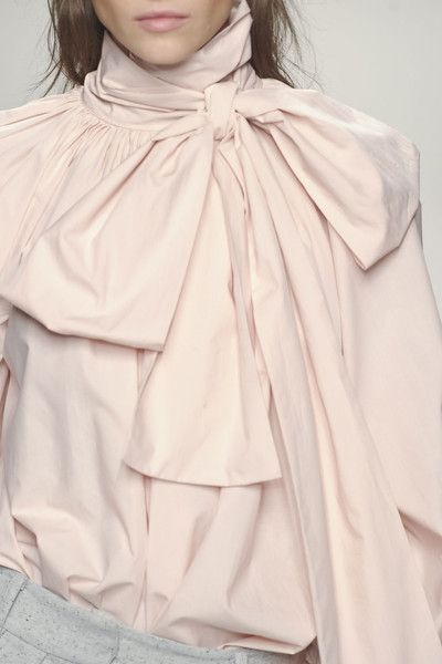 Nude bow blouse, chic fashion details // Blumarine Fall 2013