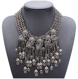 Womens Black/Silver/Gold Crystal Rhinestone Skull Statement Necklace