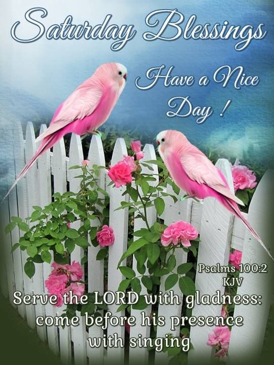 Saturday Blessings. Psalms 100:2 KJV - Have a Nice Day!