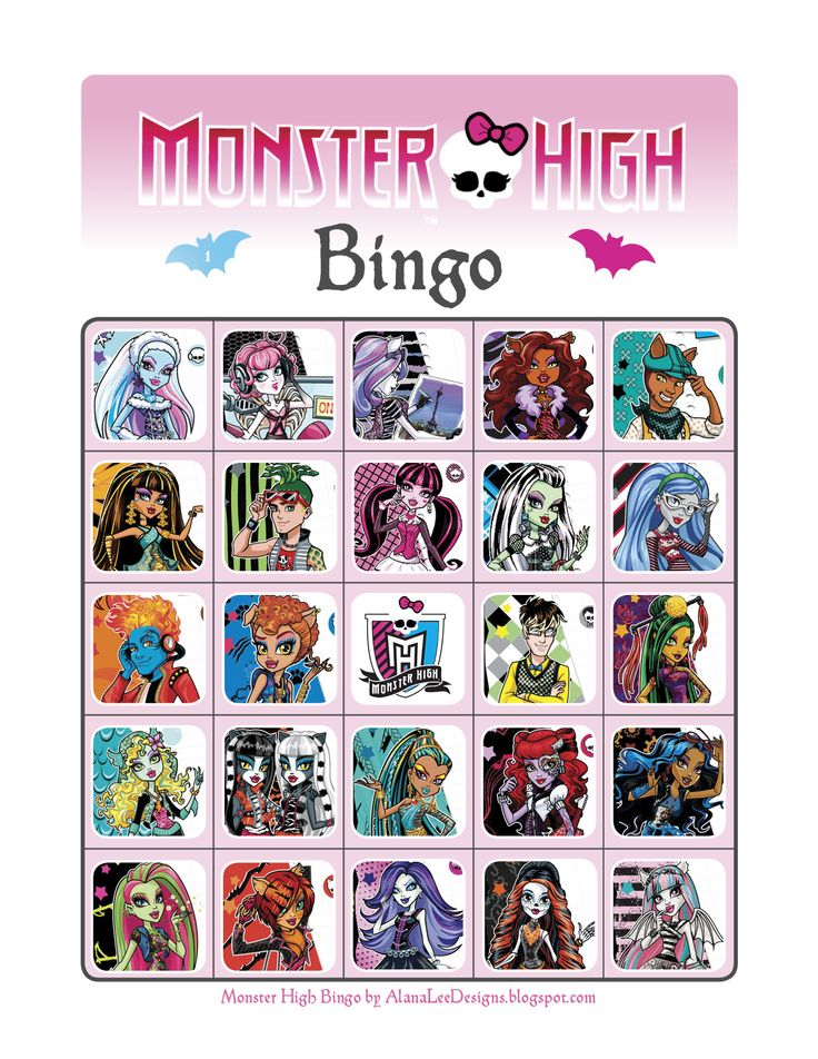 free monster high printables | ... Custom Photo Products with Personality: Free Monster High Bingo Game