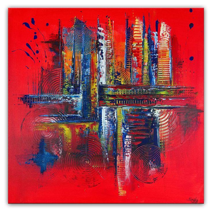 BURGSTALLER Original Gemälde Fabrik Leinwandbild handgemaltes bild abstrakt rot