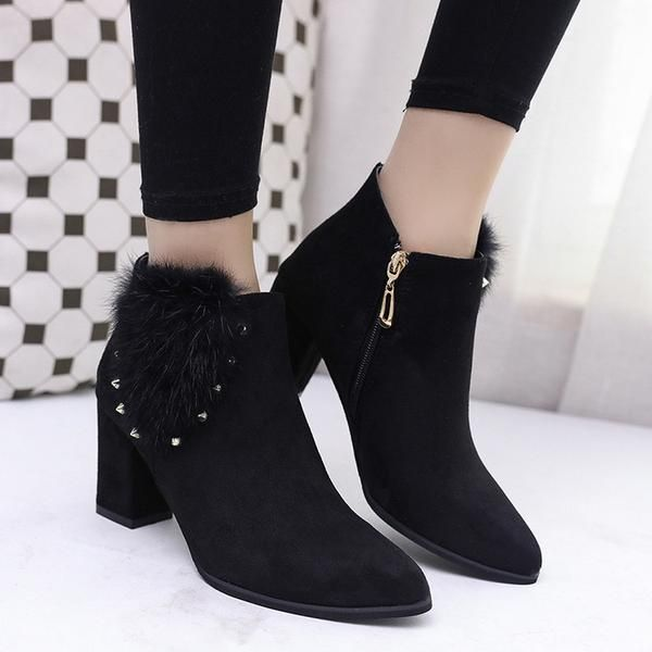 52dbfa8b23dd Faux Fur Decoration Pointed Toe Middle Chunky Heel Warm Velvets Short Shoes