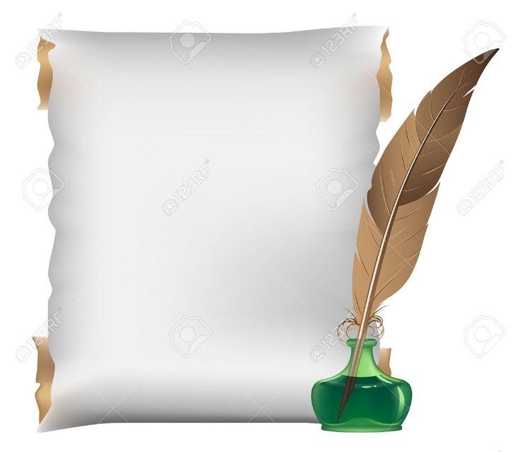 Antiguo pergamino, pluma y tintero sobre un fondo blanco Foto de archivo - 15094968