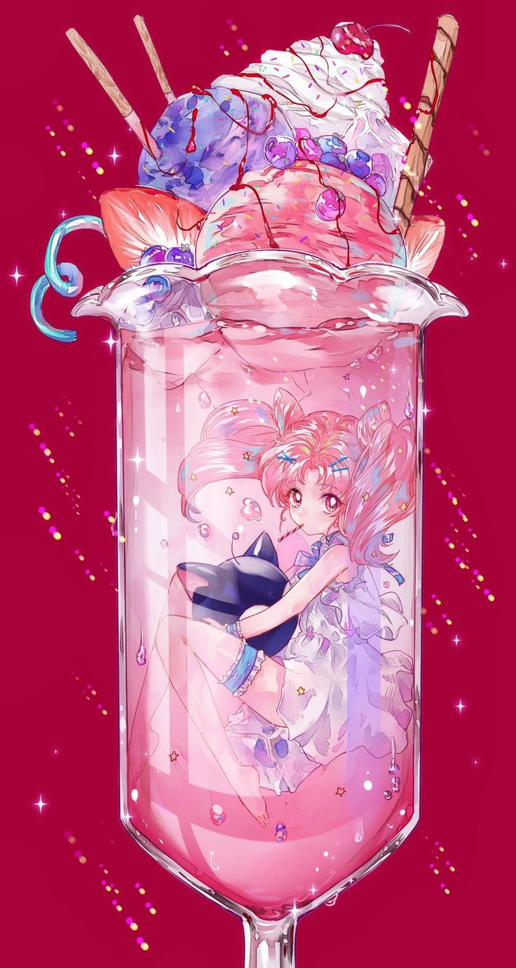 Chibi moon in a glass I don't know why but this reminds me of Alice in Wonderland.