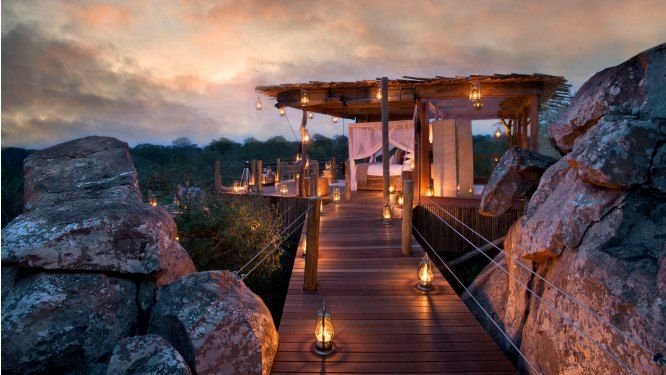 Kingston Treehouse, Lion Sands - SOUTH AFRICA.  This treehouse is constructed entirely from wood and glass and, unlike the other Lion Sands treehouse suites, it has a roof so you are ensured your night in the wilderness regardless of the weather.