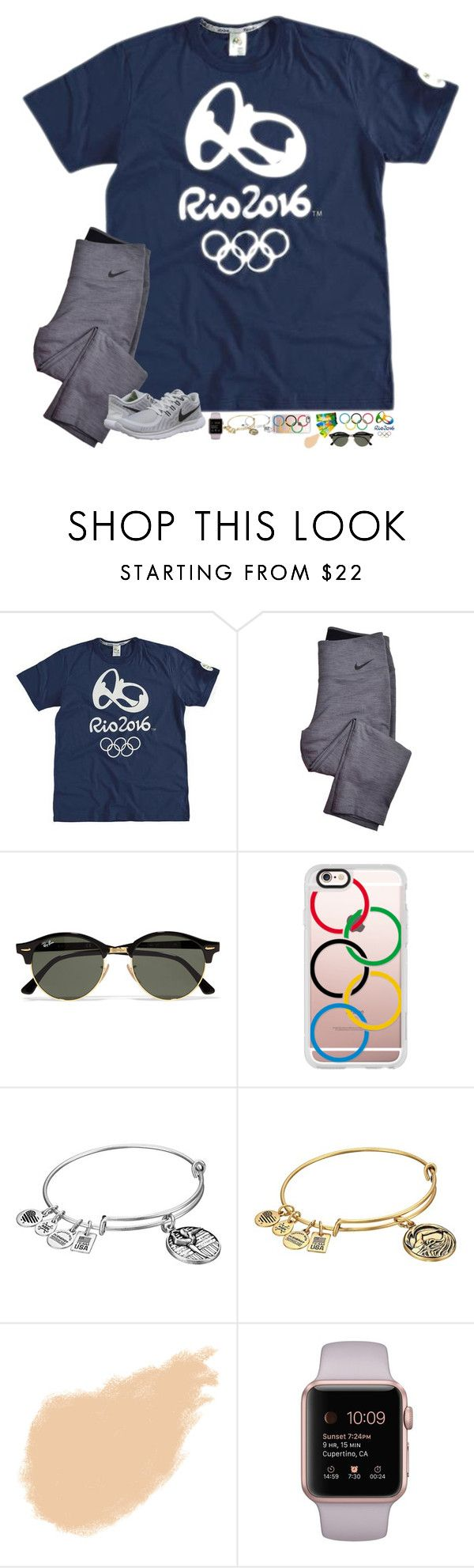 """""""Just watched Michael phelps bring in the gold for his (possibly) last Olympic race. It's so sad """" by hopemarlee ❤ liked on Polyvore featuring NIKE, Ray-Ban, Casetify, Alex and Ani and NARS Cosmetics"""