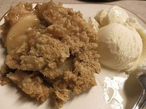 Apple Crisp    1 Cup Flour  1 Cup Old Fashioned Oats  1 Cup Packed Brown Sugar  1/2 Cup Melted Butter  1 Tsp Cinnamon  1 Qt Homemade Apple Pie Filling(or a can of store bought filling)     Combine all ingredients except pie filling, mix together until is crumbly.  Press 1/2 of oat mixture into a greased  8x8 baking dish, press to make a crust.  Pour Apple Pie filling onto pressed crust, then sprinkle with remaining oat mixture on top.  Bake at 350F for 1 hour.  Serve alone or with ice cream.