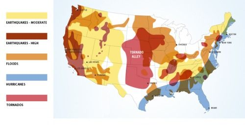 United States Natural Disaster Risk Map. Earthquake, flood ...