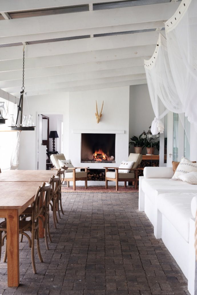 Love the open fireplace to patio as well as deep patio to incorporate seating as well as dining areas