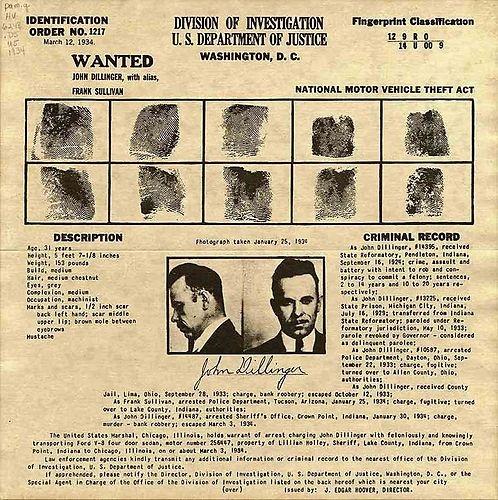 John Dillinger FBI Fingerprint Card