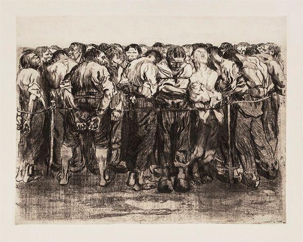 The Prisoners by Käthe Kollwitz. 1908. Etching on off-white paper. 32.7 x 42.2 cm.