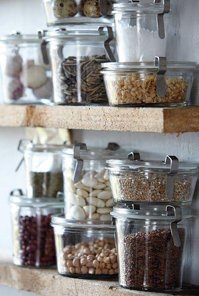 Weck on open shelving. #pantrystorage #kitchenutility | Image via: Bodie and Fou