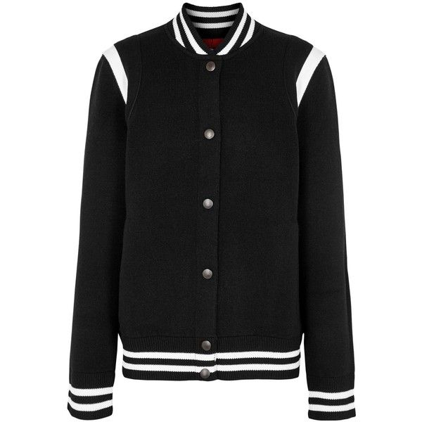 Givenchy Black Embroidered Jersey Varsity Jacket - Size XS ($1,280) ❤ liked on Polyvore featuring outerwear, jackets, varsity bomber jacket, givenchy jacket, logo jackets, style bomber jacket and letterman jackets