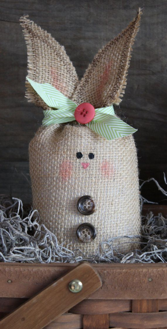 This cute stuffed bunny rabbit is hand-made from burlap. Add him to your Easter table, pop him into a basket, or give as a gift! Hes the perfect