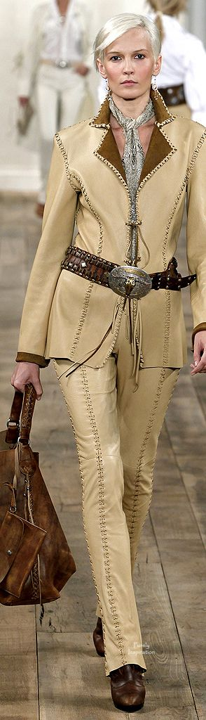 "~ From Ralph Lauren.  A masterful combination, this model is drenched in leather from head to toe.  From the leather whip-stitched jacket, leggings, steerhead belt, bag and boots, this outfit says, ""I'm to be taken seriously"" whether a mountain gal or businesswoman. ~"
