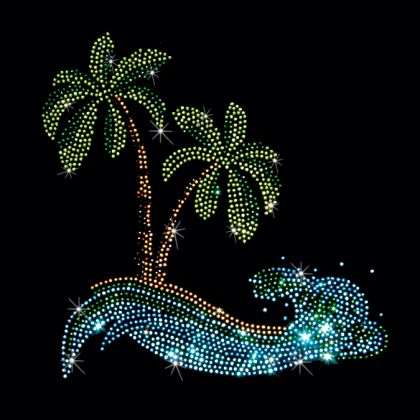 7X8  - WAVY BEACH - beach, palm Tree, Rhinestone, stones, wave, wavy, Material Transfer, Tropical & Beach