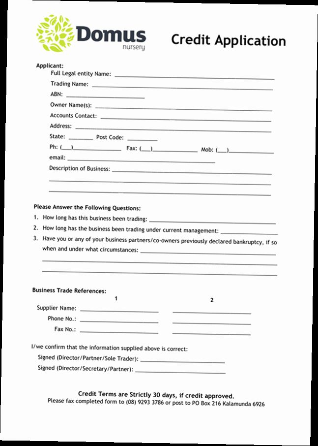 Credit Application Form For Business Unique Business Credit Application Form Pdf Application Form Job Application Template Job Application Form