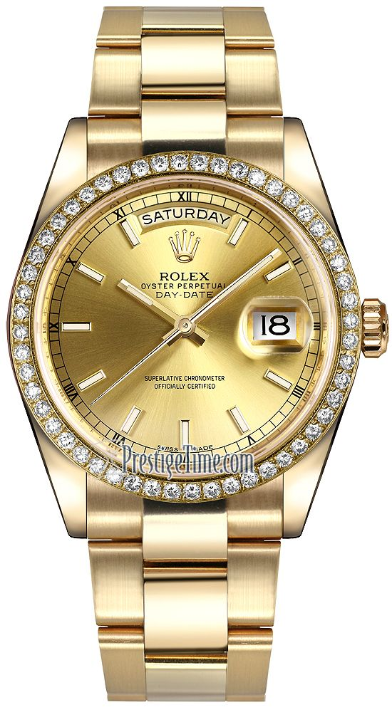 Best Rolex Day Date mm Yellow Gold Diamond Bezel Champagne Index Oyster