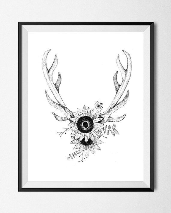 Antlers w/Flowers  Print of Drawing by YinAndInk on Etsy