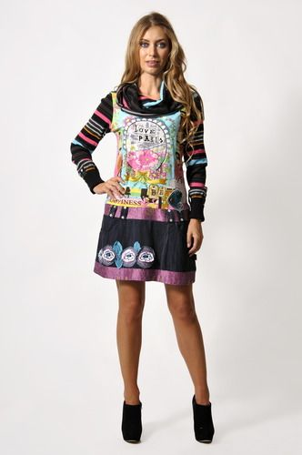 Savage Culture: I Love Paris In Pink Sweater Jeans Dress/Tunic, only on wildcurves.com!