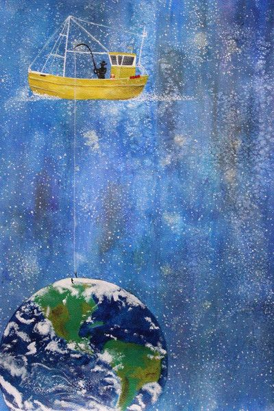 Fishing for the World Watercolor Print