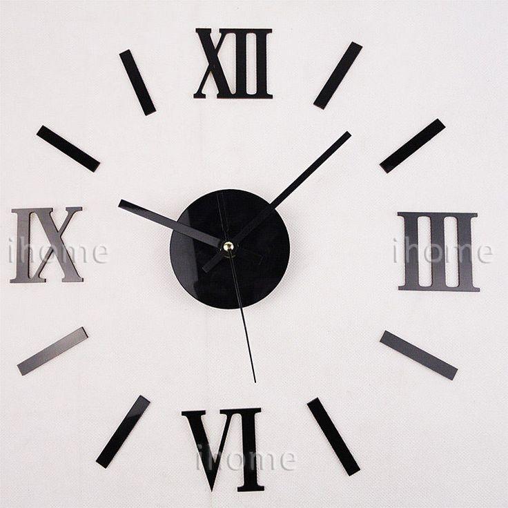 Large Diy Wall Personalized Roman Novelty Clock Kit Retro Home Bedroom Decor