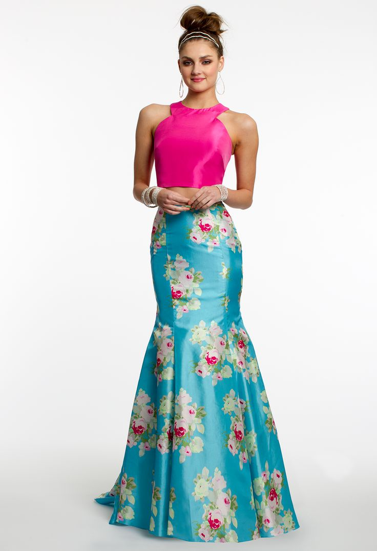 Racer Cut Crop Top Two-Piece Prom Dress #camillelavie #CLVprom