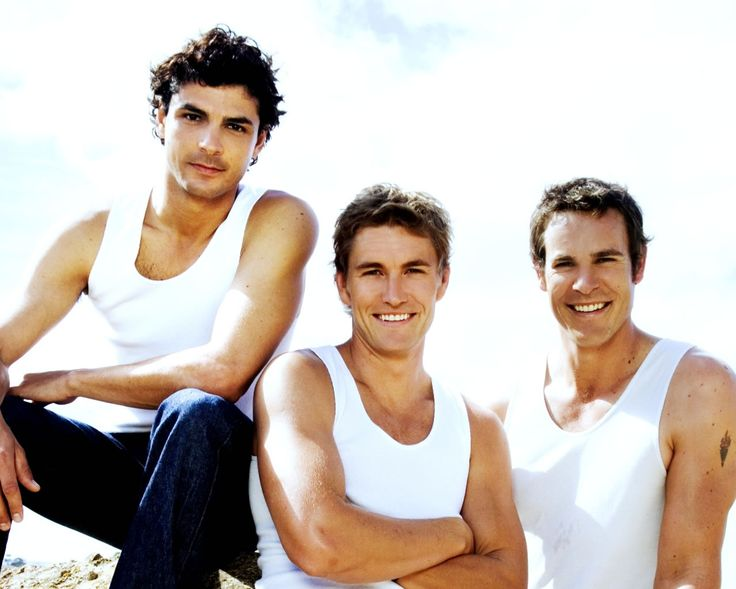 Men of McLeod's Daughters, (left to right) Jonny Pasvolsky plays Matt, Brett Tucker plays Dave Brewer and Aaron Jeffery plays Nick Ryan. Watch McLeod's Daughters on Hulu (if only for the eye candy!)