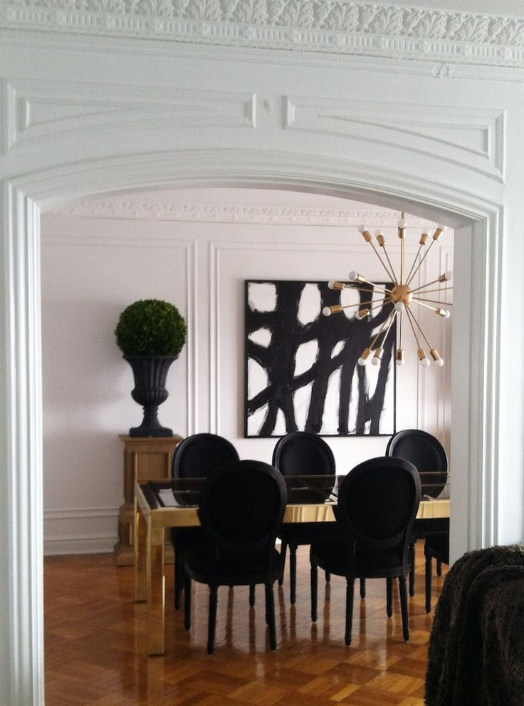 Modern Dining Room In Classical Interior Statement Art BW Abstract