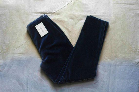 """Pantalone donna """"AVANGARD"""" anni 80 di velluto blu a Vita alta Taglia 42 IT Articolo Nuovo con etichetta - Made in Italy"""