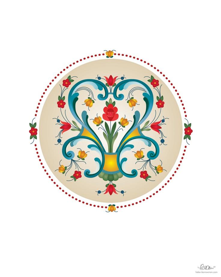 17 beste afbeeldingen over flower folk art op pinterest for Norwegian flower tattoo