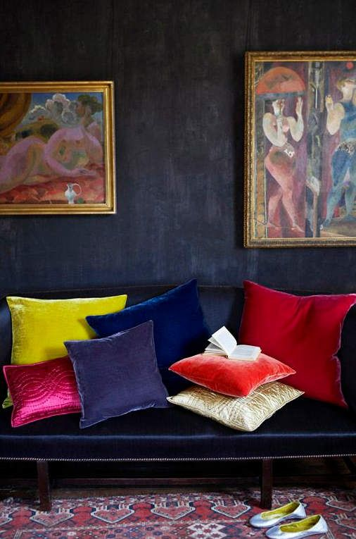 yellow, blue, pink, red, and purple velvet pillows play nice together // rich colors